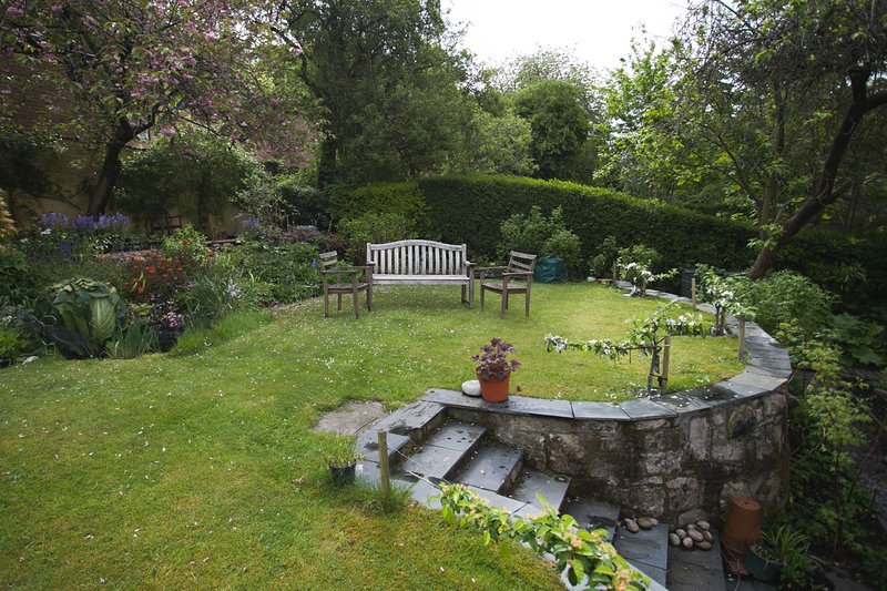 stor trädgård på baksidan av stugan