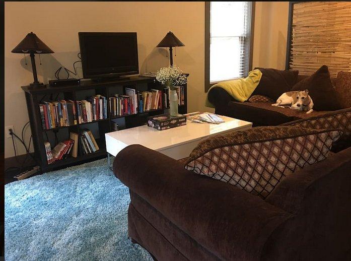Salón son con TV por cable, alfombras de felpa y un sofá en forma de L cómodo para ver el partido o navegar por la red.