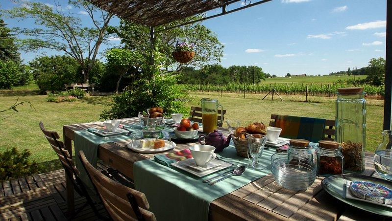 Summer breakfast in the garden, overlooking the vineyards