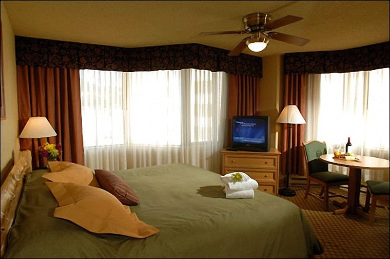King Suite Includes a Sleeper Sofa, Kitchenette, and King Bed (Representative Unit)