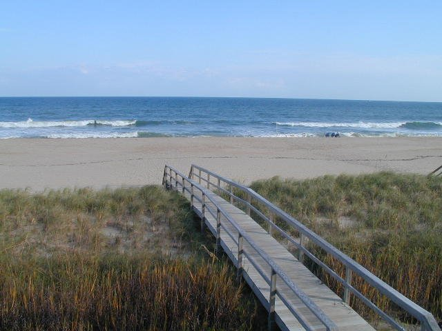 Walkway to the beach, viewed from second floor deck.