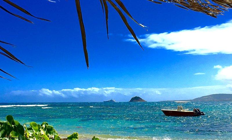 Vista desde nuestra cabaña frente a la playa de la tortuga