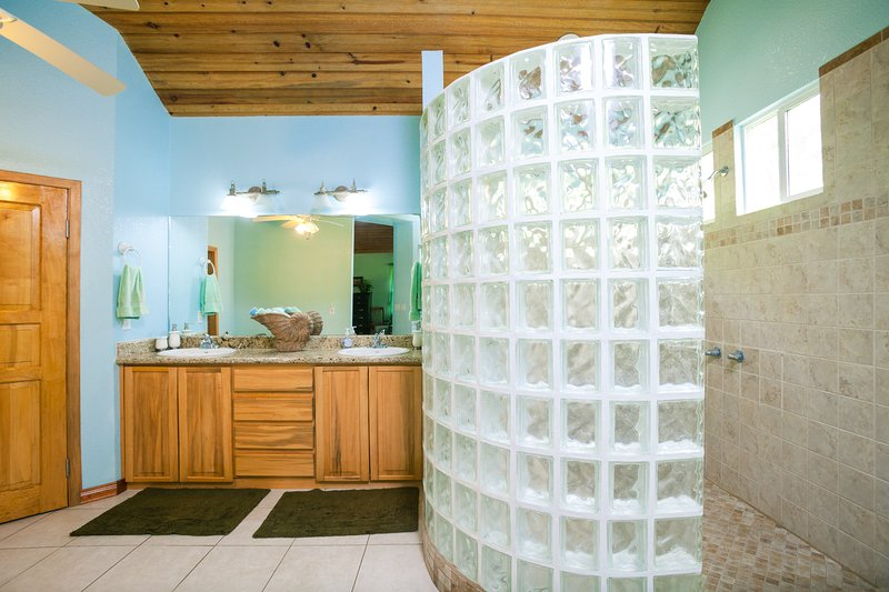 The shower in the master bathroom