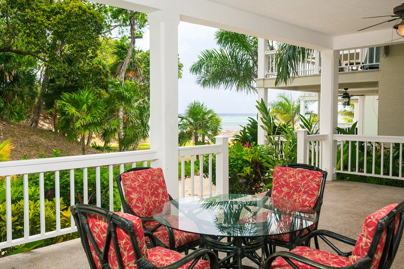 Enjoy the private patio with steps to the sea
