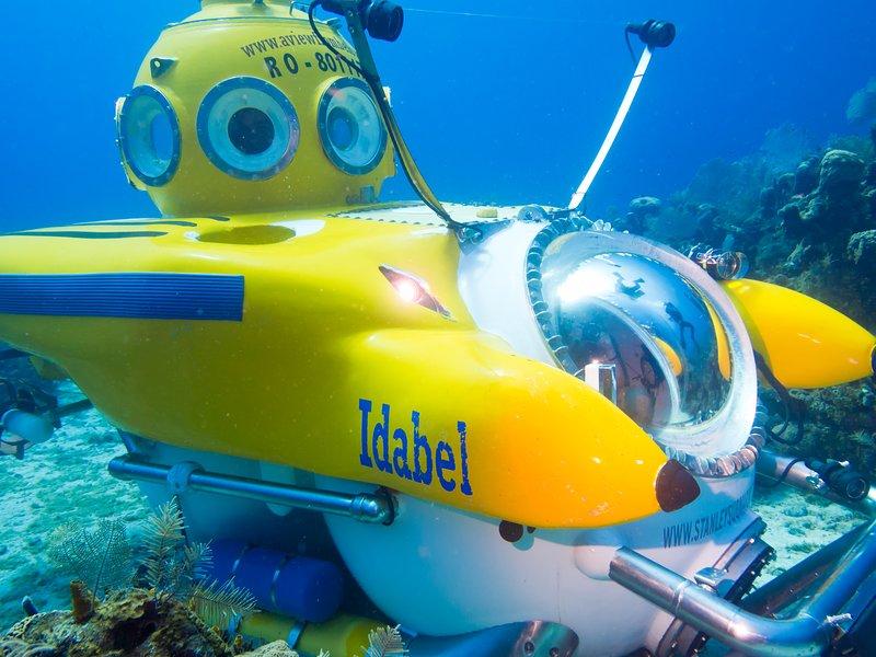 En serio, tenemos un submarino aquí donde puedes bajar. Increíble.