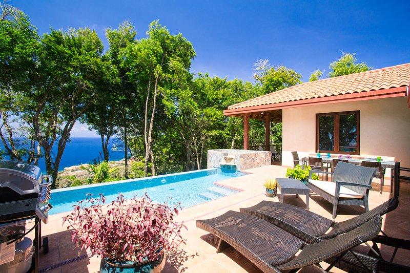 Cubierta de sol y piscina con vistas al Caribe