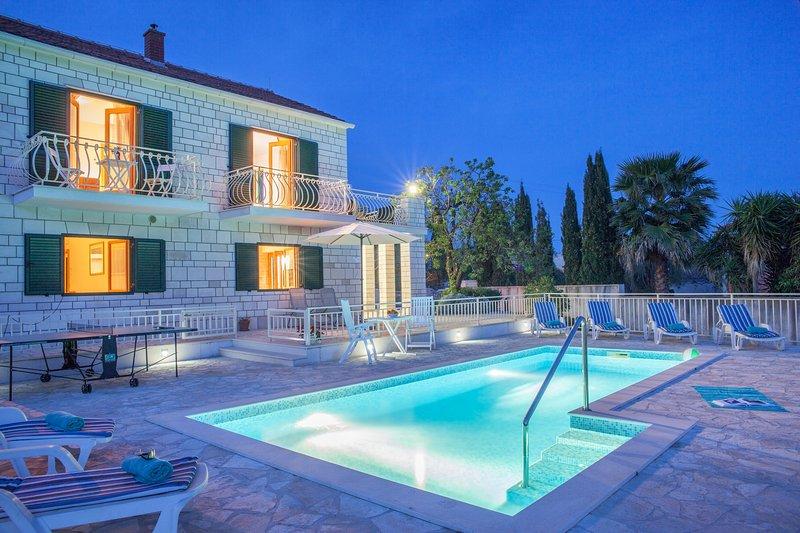 Vue de face, piscine privée, Villa Vjeka, Sumartin l'île de Brac