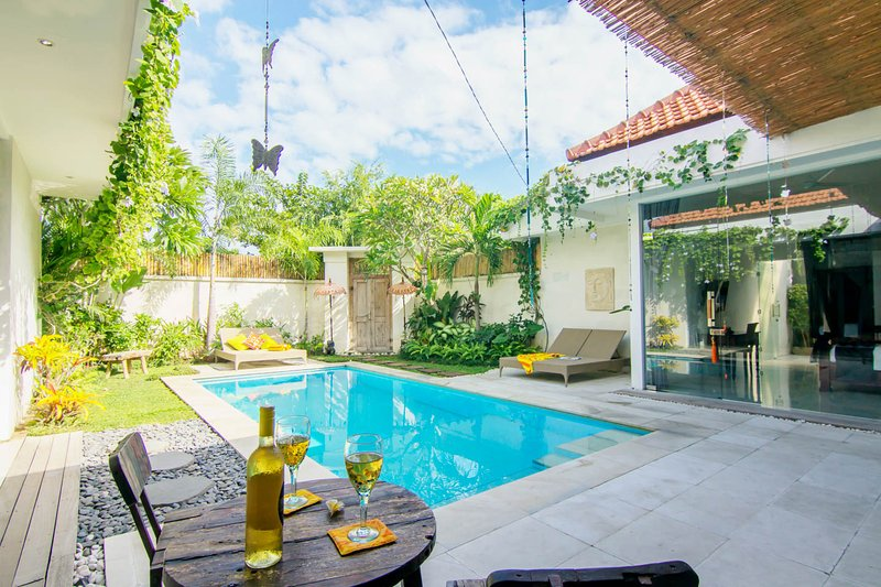 Upgraded pool area, giving you more space to relax in.