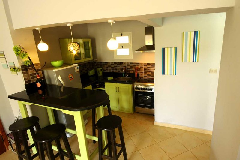 Modern open plan kitchen with large fridge, gas oven and 4 hobs, kettle, toaster and utensils.