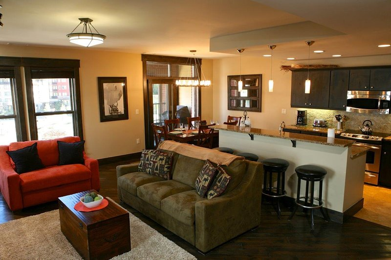 Room for the entire family in the open concept kitchen and living area