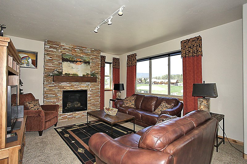 Cozy up in the plush leather couches