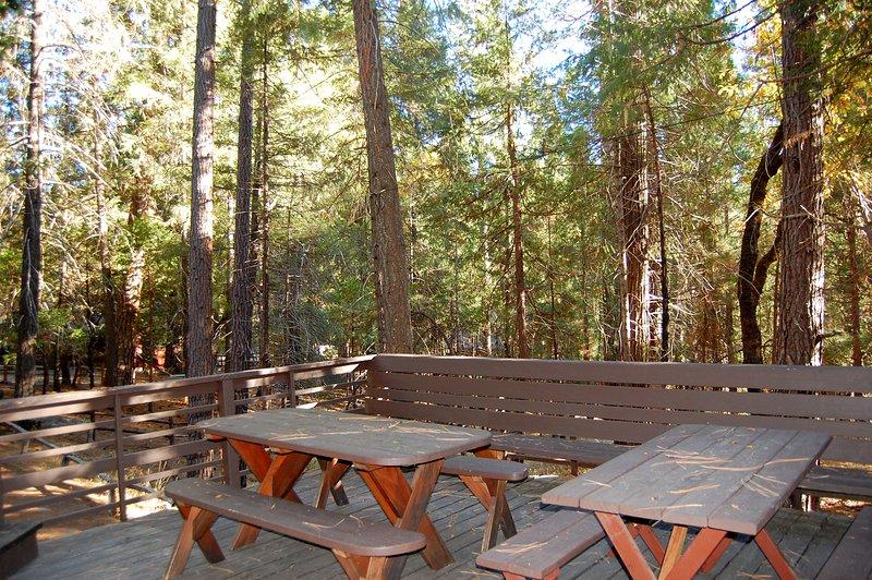 Framdäck med två picknickbord