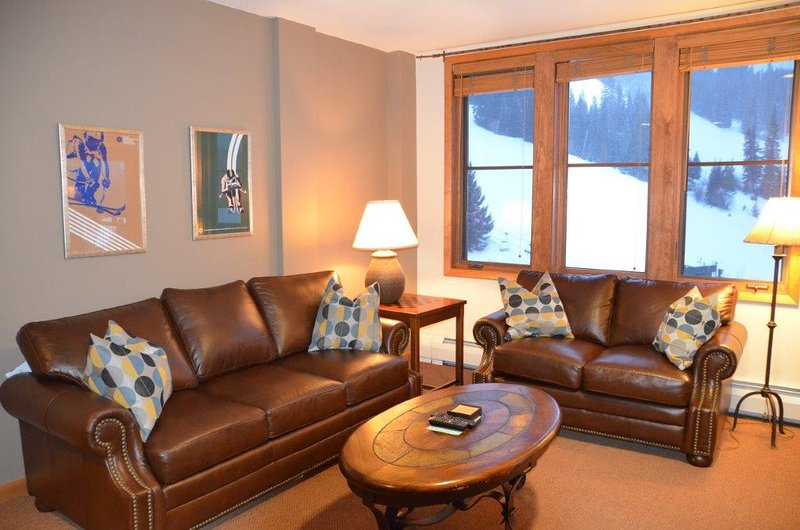 New leather couches in living area with slope views