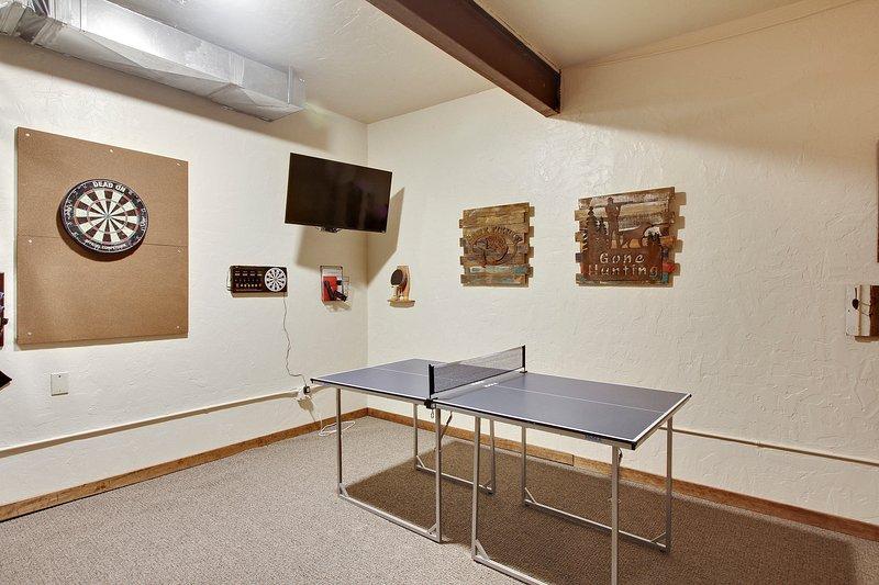 Ping-pong, fléchettes et TV ... si amusant!