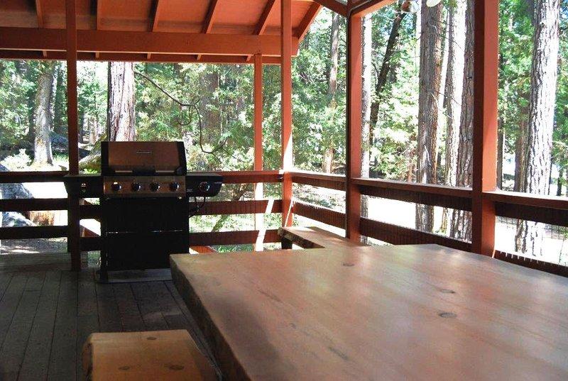 Grande cubierto con parrilla de gas y mesa de picnic hecha a medida