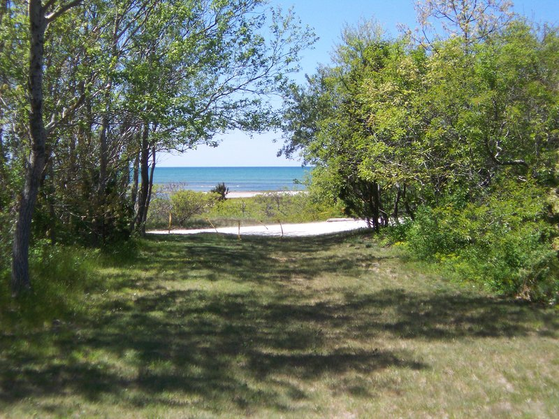 Walk to the end of the yard, then down a short path to the private Bay beach