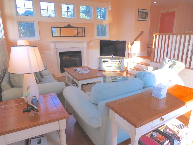... then step down into the nicely appointed living room. This home is centrally air conditioned.