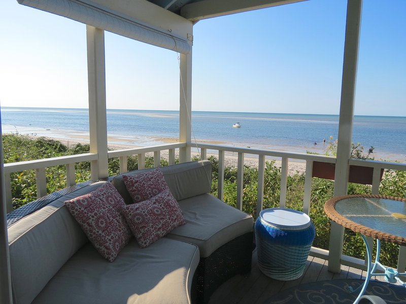 This is one of several beach front cottages in the Brewster Dunes cottage community that you can rent through Pretty Picky Properties.  For families with young children, it's so nice to be right on the beach like this! You've got a 180-degree water view,