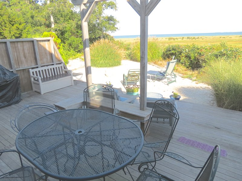 Enjoy sweeping Bay views from this spacious East Brewster home.