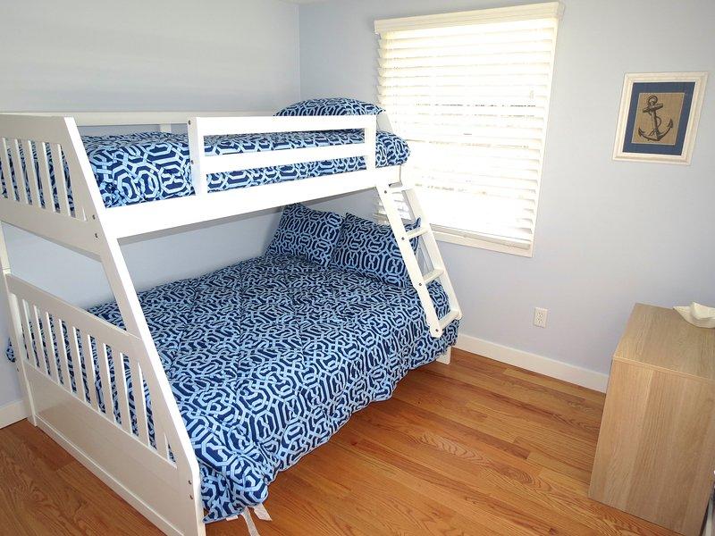 The third bedroom has a full under/twin over bunk for flexible sleeping arrangements