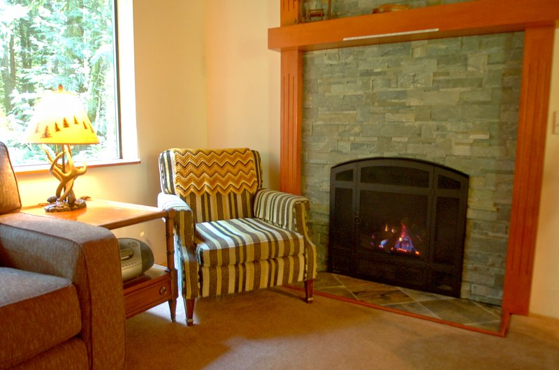The living room with a gas fireplace