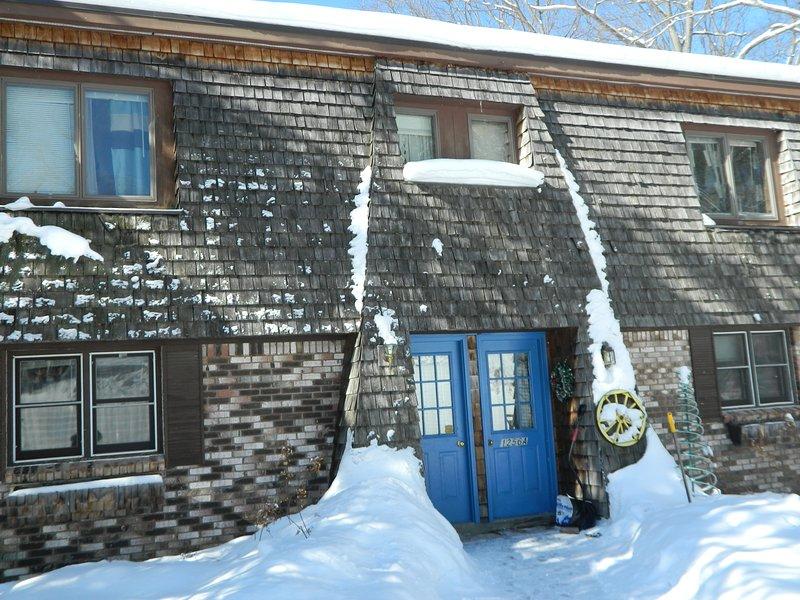 Confortable Mountainview duplex de Rose pendant l'hiver.