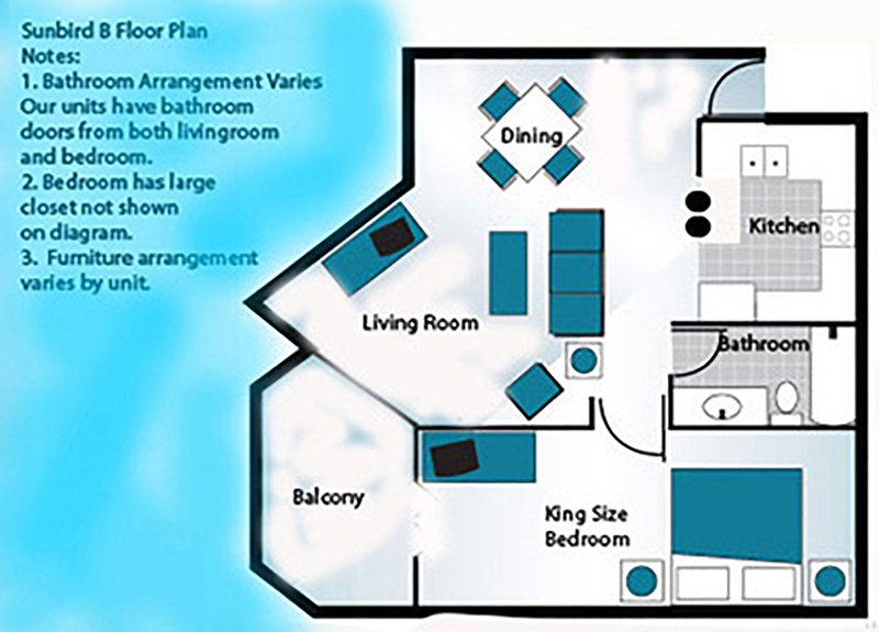 Example floor plan.  Please see our descriptions and photos for actual furnishings and placement.