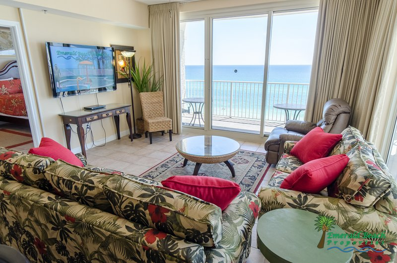 Your great room has a large flat screen TV, a sleeper sofa with matching love seat, a comfy leather recliner and an amazing ocean view.  Check out the Virtual Tour of this property on our website or in the links section of VRBO.