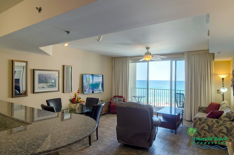Sunset Lagoon's beautiful view of the Gulf from the Kitchen, dining, and living room!