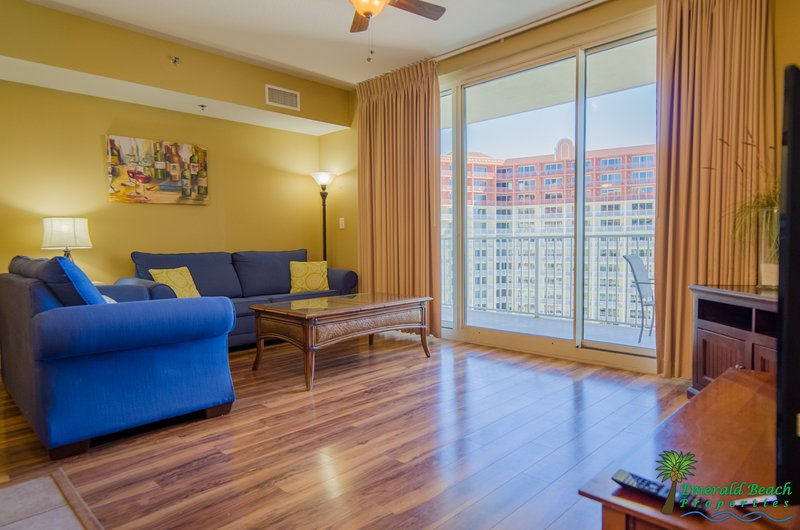 Sandy Shores' beautiful great room boasts an open floor plan overlooking the lagoon pool and the beach!