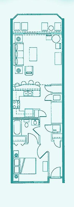 Esempio di pianta del pavimento. Si prega di vedere le nostre foto e le descrizioni per mobili reali e posizionamento in condominio.