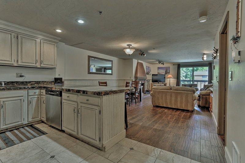 Kitchen,Dining room and Living room  at Snowblaze 202 - Park City