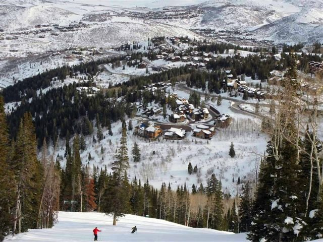 View from Deer Valley ski slopes at Empire Pass of Lookout at Deer Valley in the backdrop. Lookout 12 - Deer Valley