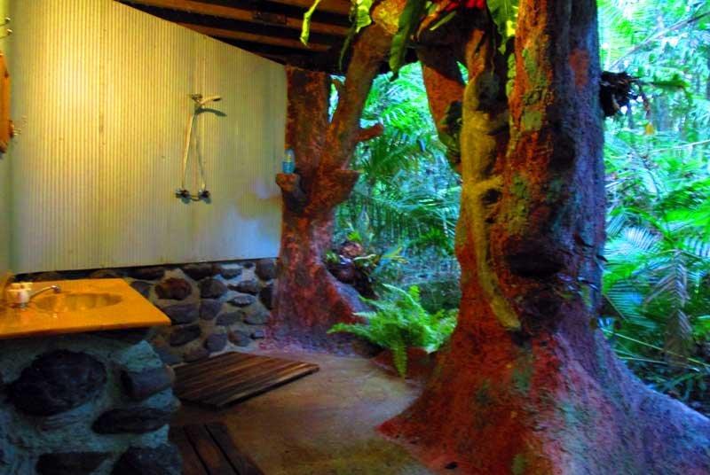 La ducha al aire libre de la casa del árbol de la selva