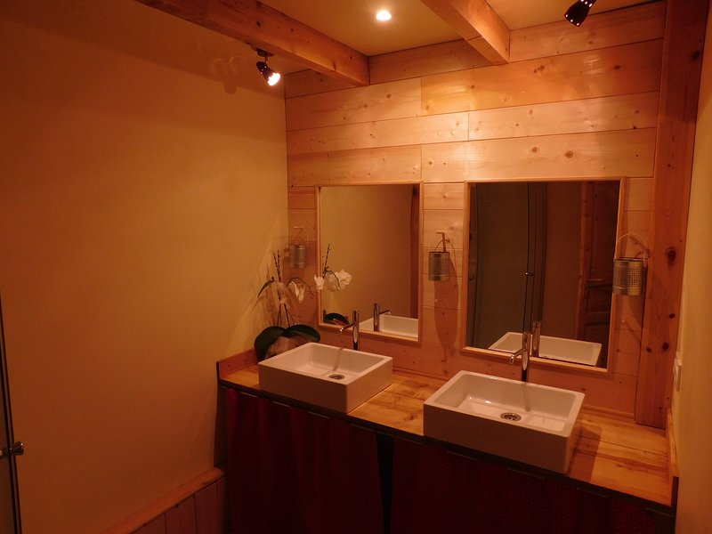 shower room with two basins.