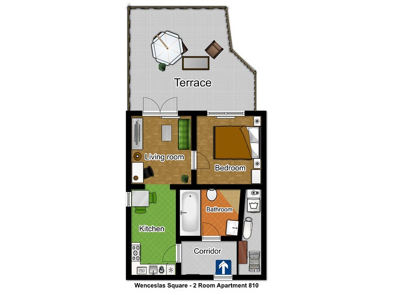 Green apartment - floorplan