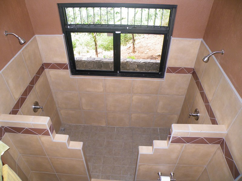 Master bedroom ensuite shower is a his and hers!