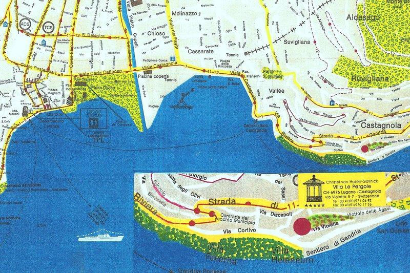 Map of Lugano to Castagnola to the Barony Le Pergole