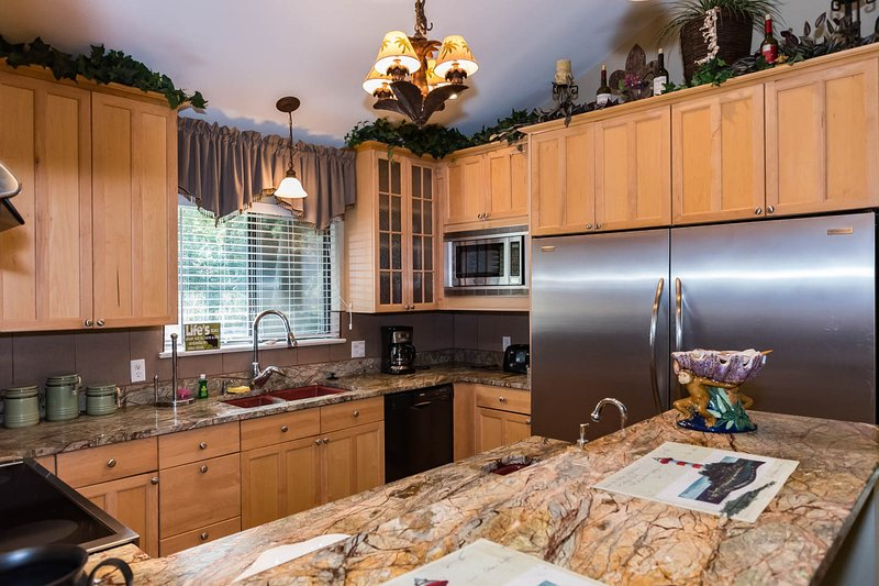 Kitchen with large double refrigerator/freezer