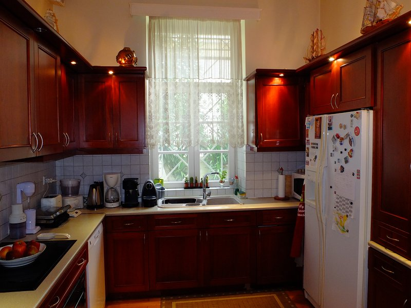 Our fully equipped kitchen with nespresso coffee maker and other utilities.