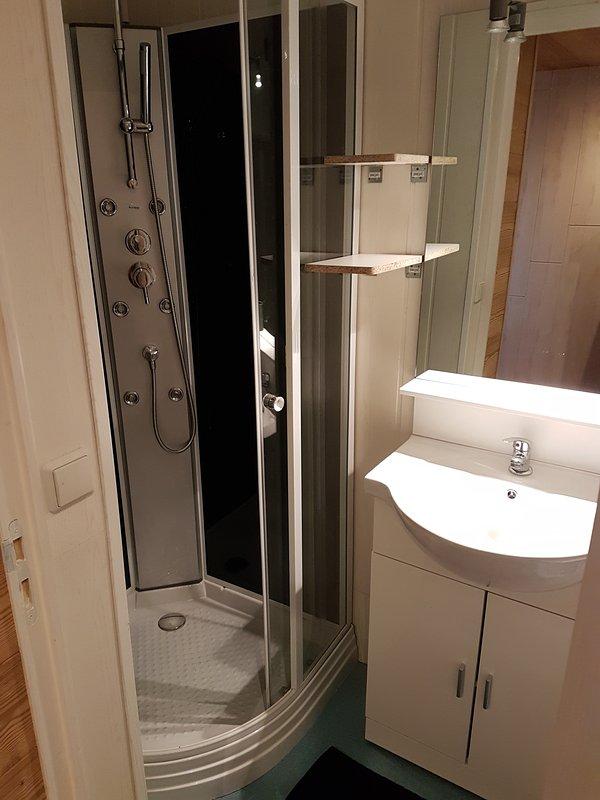 Bathroom: Shower + washbasin + toilet
