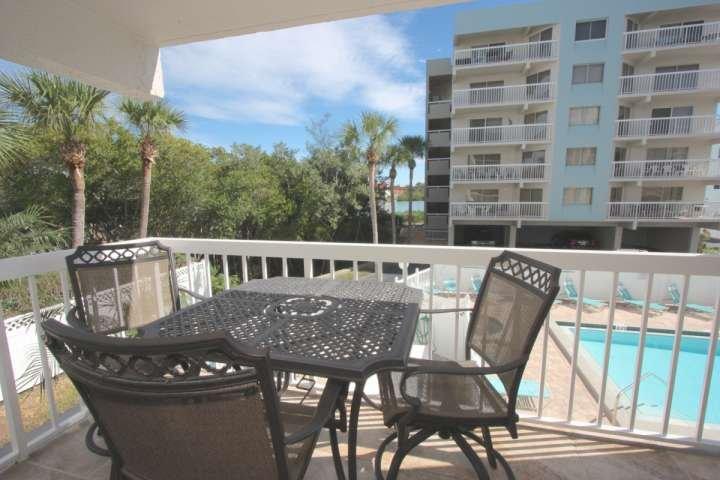 Balcony overlooking the pool.