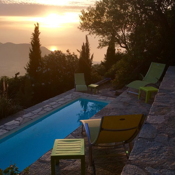 Swimming pool, sunset view