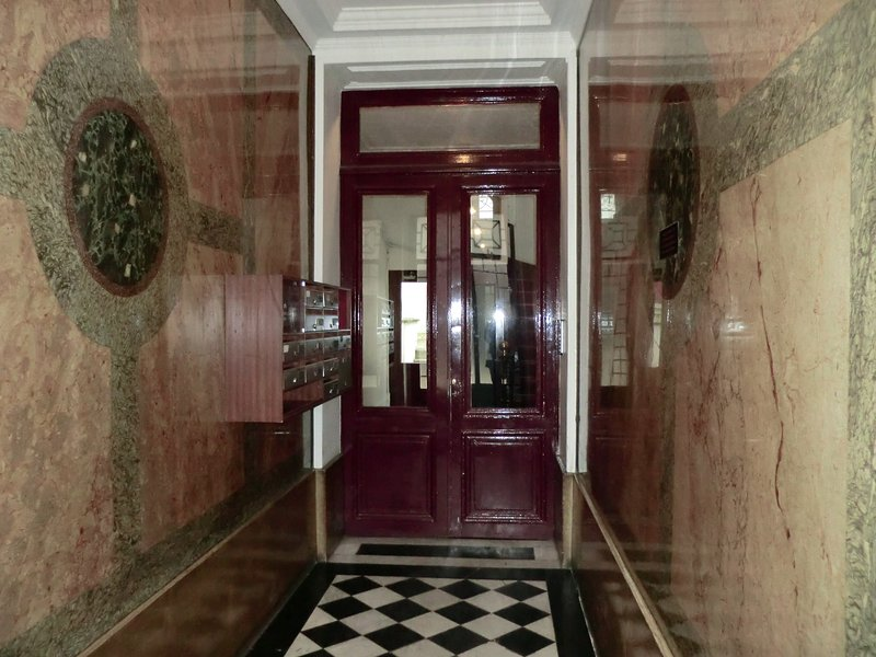 Marble entrance to the building