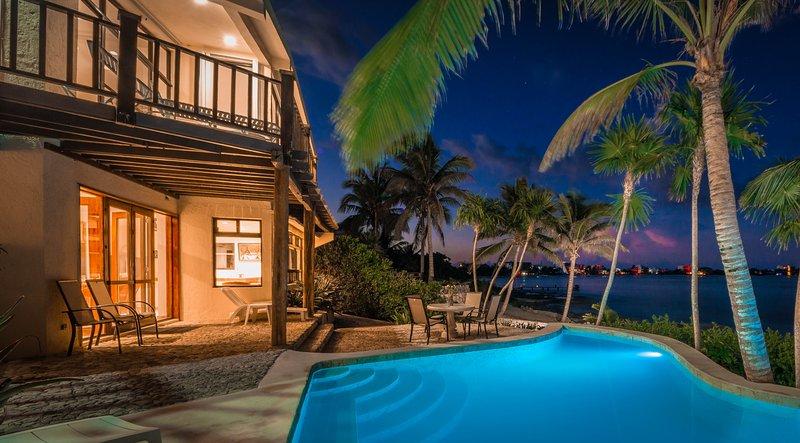 Casa Zama, a 3-6 BR villa on Half Moon Bay beach in Akumal, Mexico.