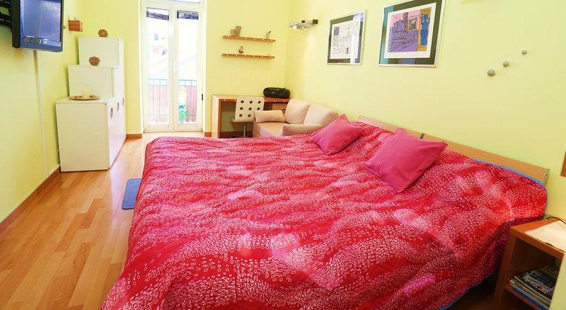 La chambre principale aparments Marmont avec divan sur étendre et Tv