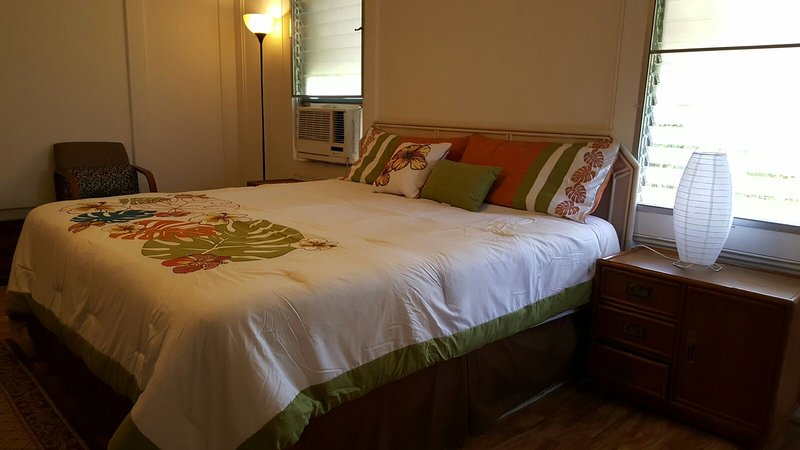 King Size Bed, Window A/C, Night Stand, Floor Lamp