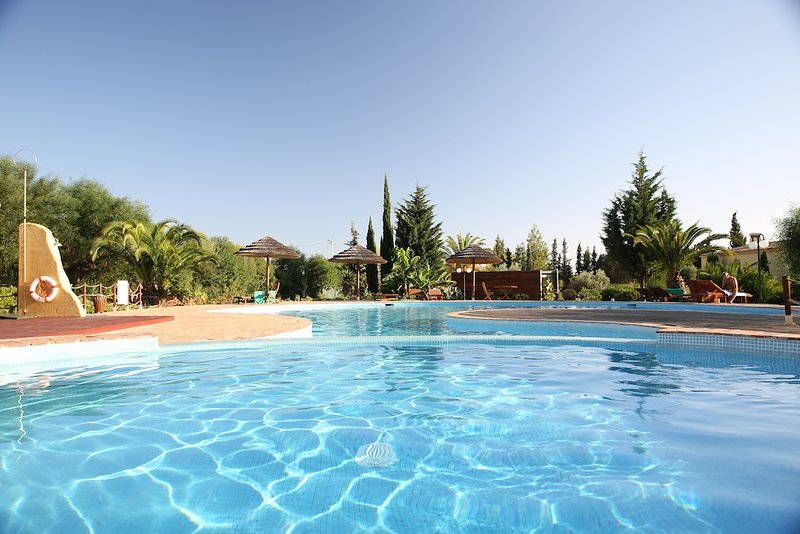 A wodnderful, organically shaped pool and a smaller, shallow pool are available for guests to enjoy