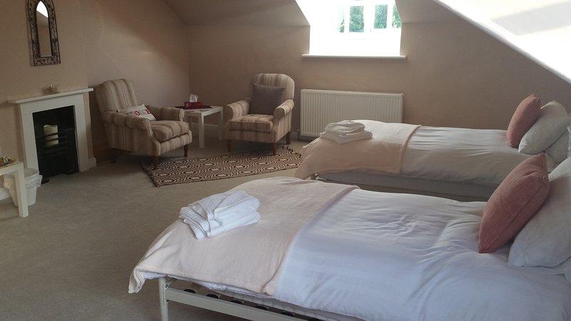Gran ático con dos camas y área de descanso.