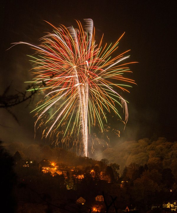 Watching the fireworks over Church Stretton from the balcony/pathway